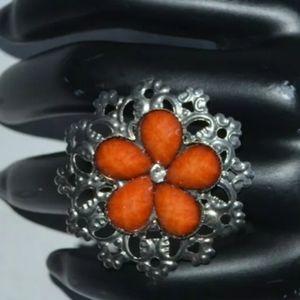 Fashion Ring orange with one Rhinestone Silver.